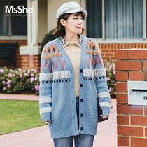 Msshe big-size Winter clothes woman 2018 new medium long totem hook imitation rabbit hair knitted cardigan M1841020