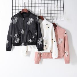 2019秋冬新款女装时尚欧美风刺绣花朵夹克棒球服立领拉链百搭外套