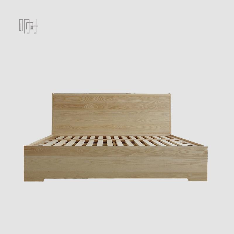 明时新中式北欧简约现代白蜡樱桃硬枫黑胡桃木实木榫卯双人箱体床