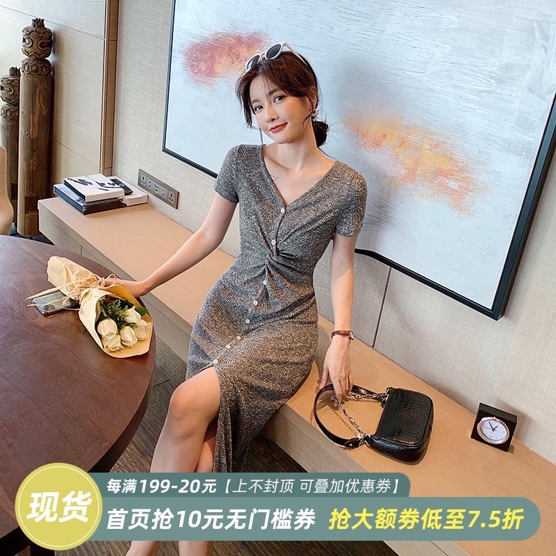 岛歌夫人 御姐风开叉连衣裙女夏季气质修身长裙子显瘦性感包臀V领