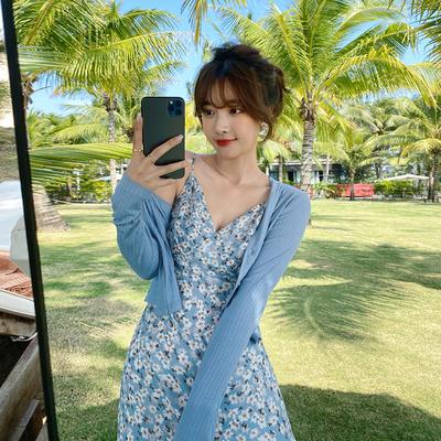 岛歌夫人蓝色针织开衫外套短款薄款2021年春季新款女装外搭空调衫
