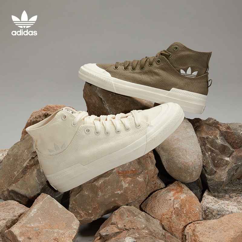 Adidas official website clover NIZZA HI DL men and women high-top classic canvas shoes GZ8834 GZ8835