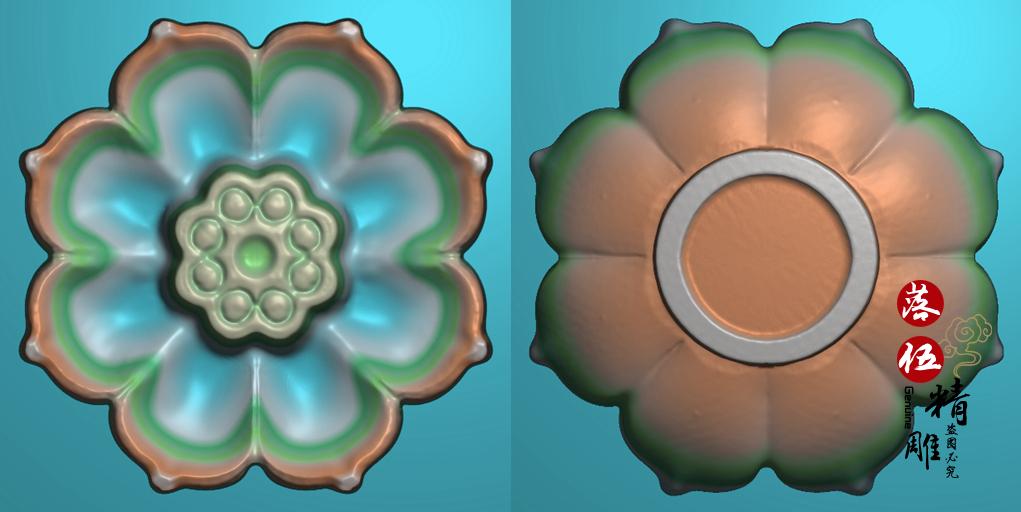 莲花座香插5920精雕图花件电脑雕刻玉雕图荷花立体两面香插正反面 Изображение 1
