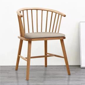 北欧白橡木实木餐椅温莎圈椅公主椅日式原木简约扶手休闲椅书桌椅