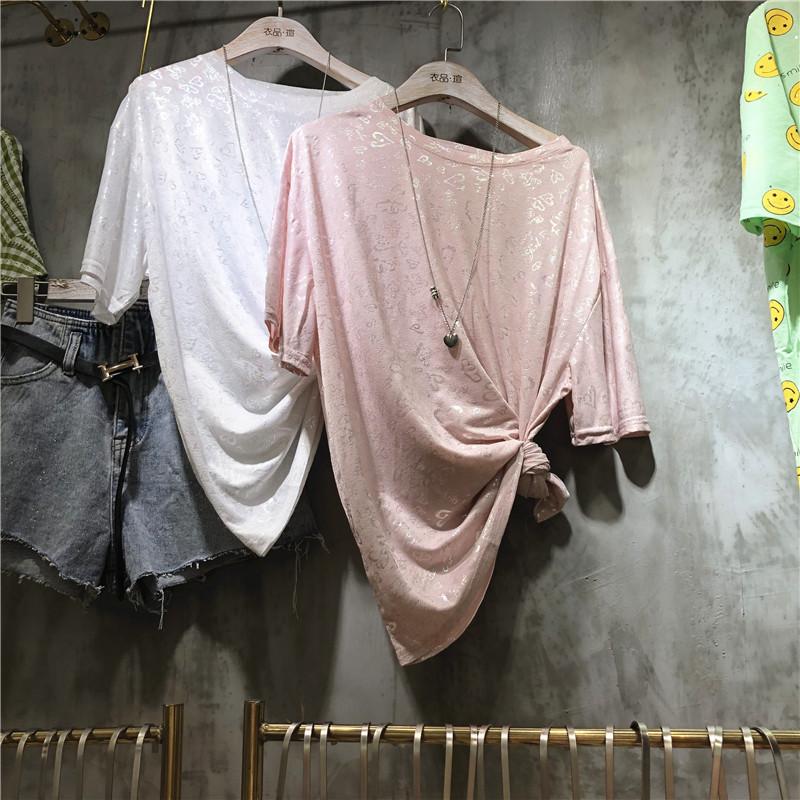 欧洲站 2019夏季新款 圆领短袖烫金印花项链T恤衫女时尚洋气