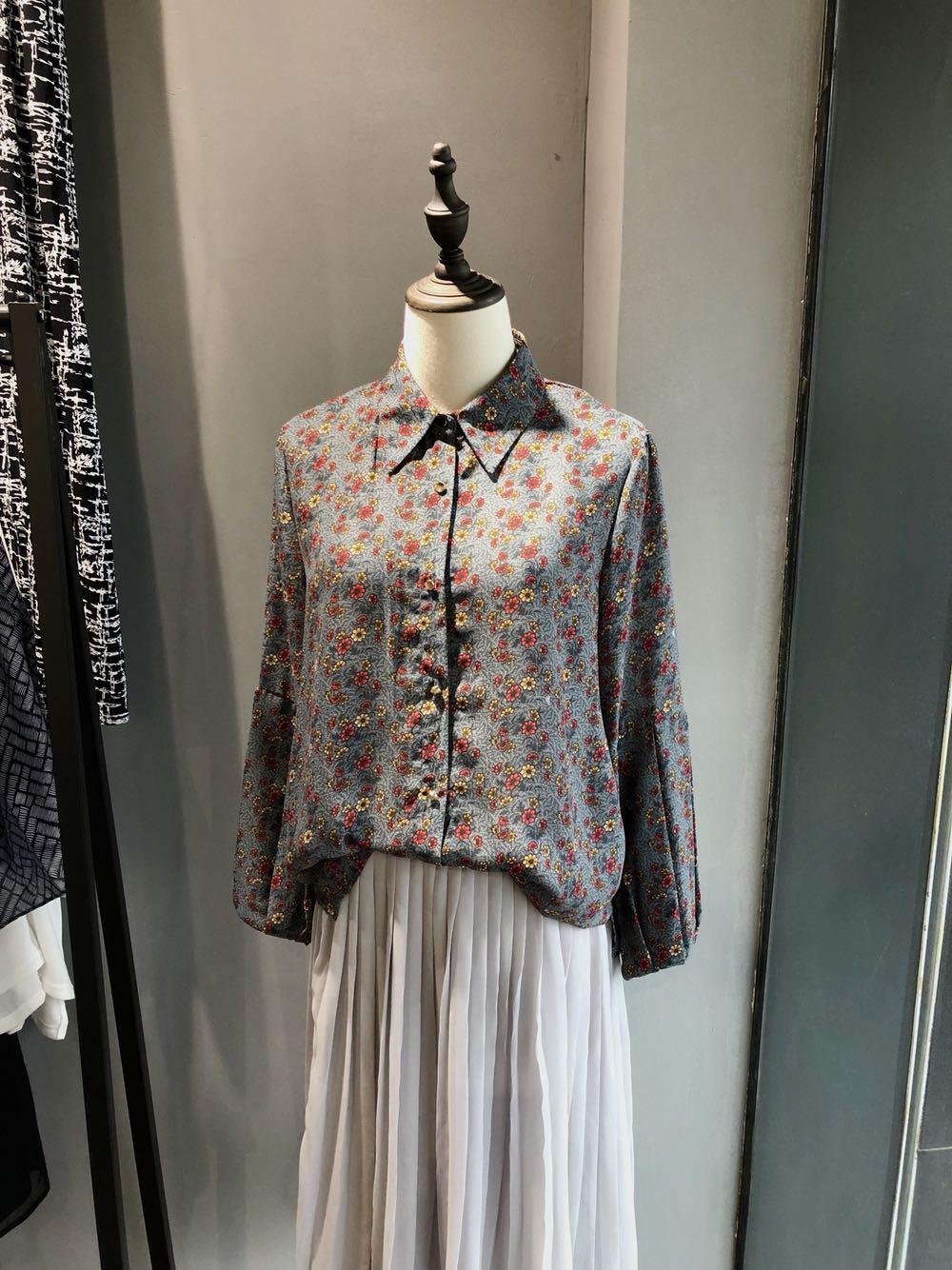 外贸公司品牌样衣 女花色时装袖管翻领复古特色衬衫 孤品