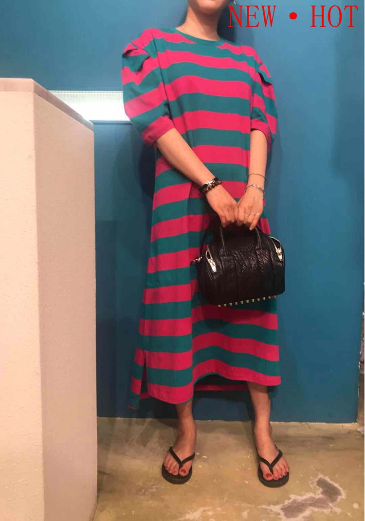 Tshop韩国东大门代购夏装女2018新款 横条纹耸肩蓬蓬短袖连衣裙