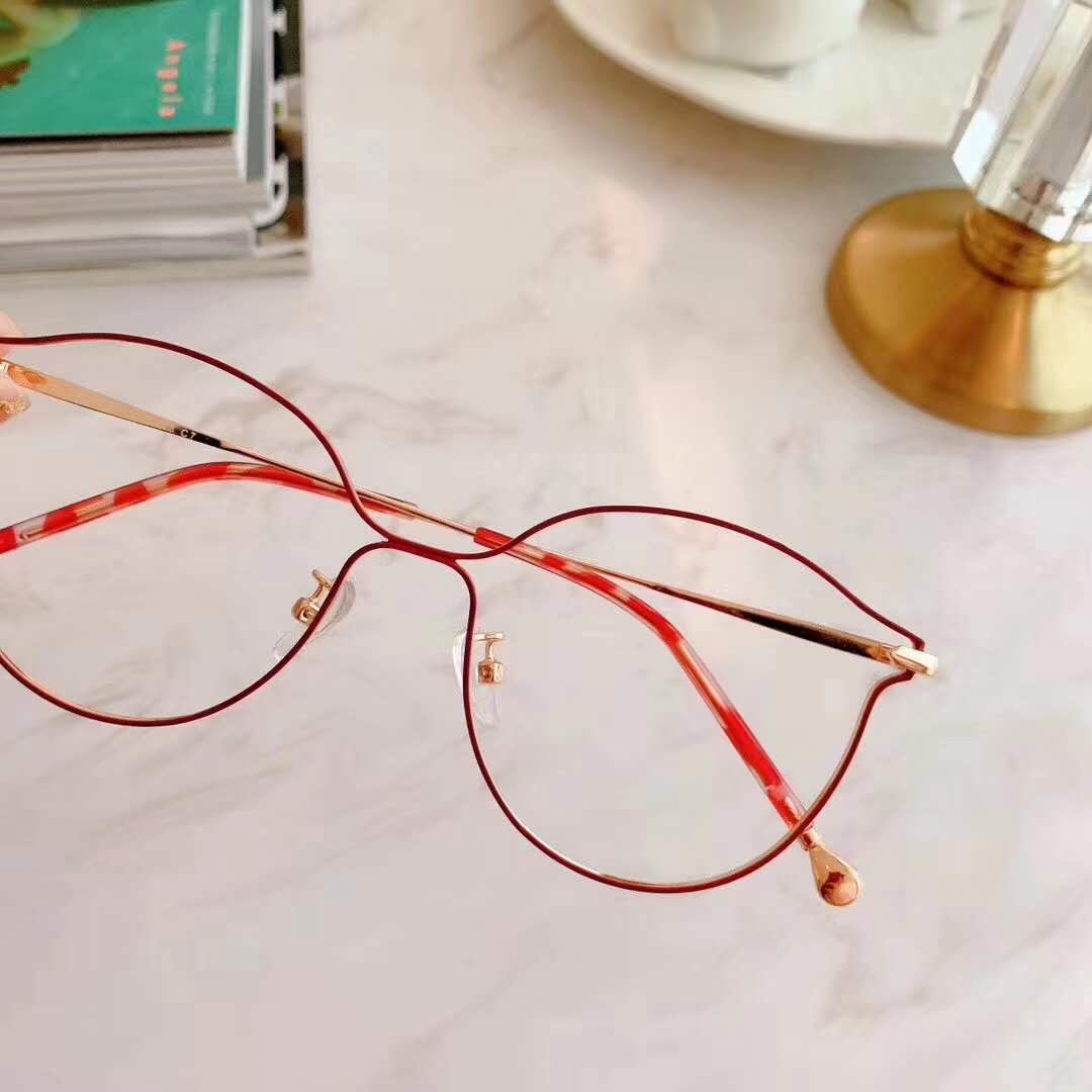 Cats eye hollow round frame glasses for female myopia can be equipped with sensitive pink full frame male anti blue light glasses frame