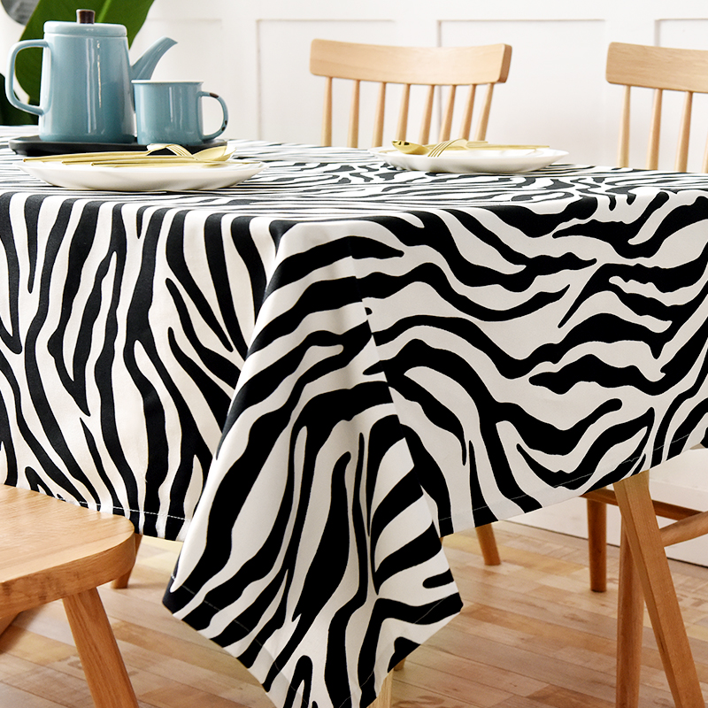 Nordic ins Cotton Linen Tablecloth cloth art table cloth cover towel rectangular round table black and white zebra stripes simple now