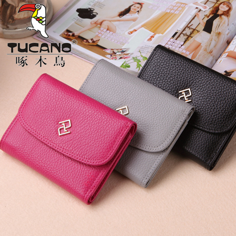 Woodpecker 2020 new small wallet womens short three fold European and American fashion double car line cow leather wallet