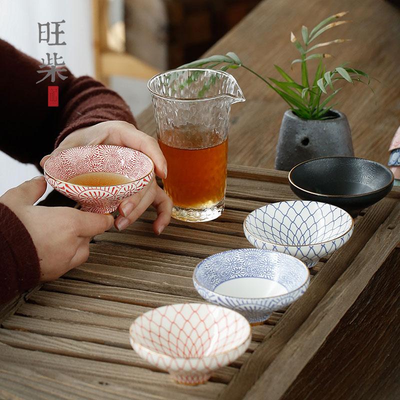 Japanese Sakura tea cup ceramic small tea bowl printing gold painted tea cup owner Douli cup kungfu tea personal cup