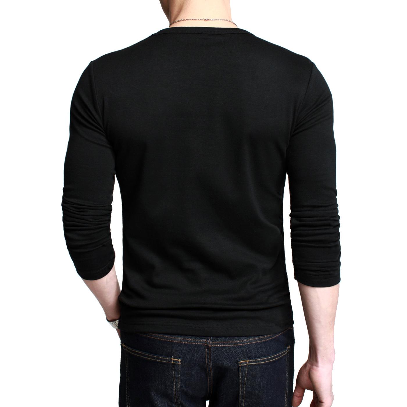 [Электронная почта] Kuegou мужской шею длинный рукав футболка Мужская Весна Черный тонкий базовый рубашка Мужская одежда от Kupinatao