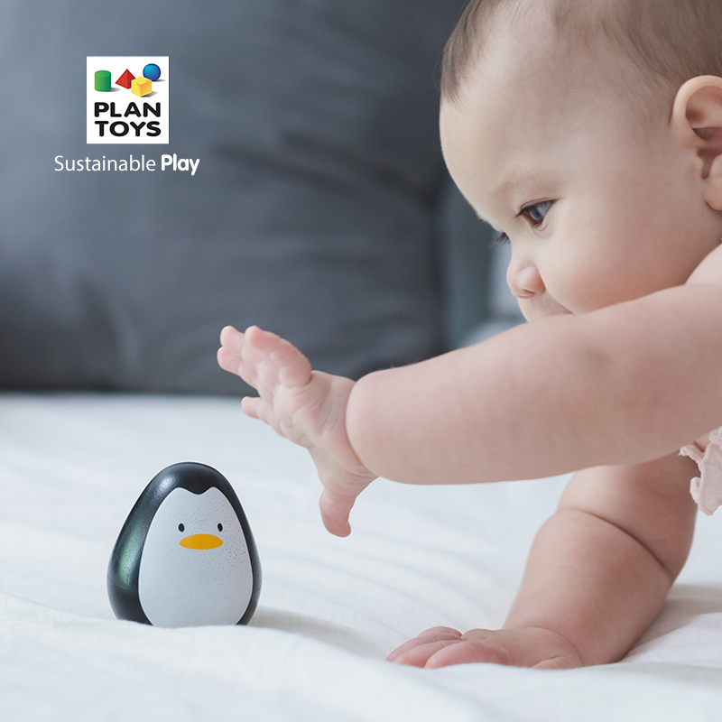 PlanToys进口木制 5200企鹅不倒翁婴儿宝宝安抚逗乐6-12个月玩具