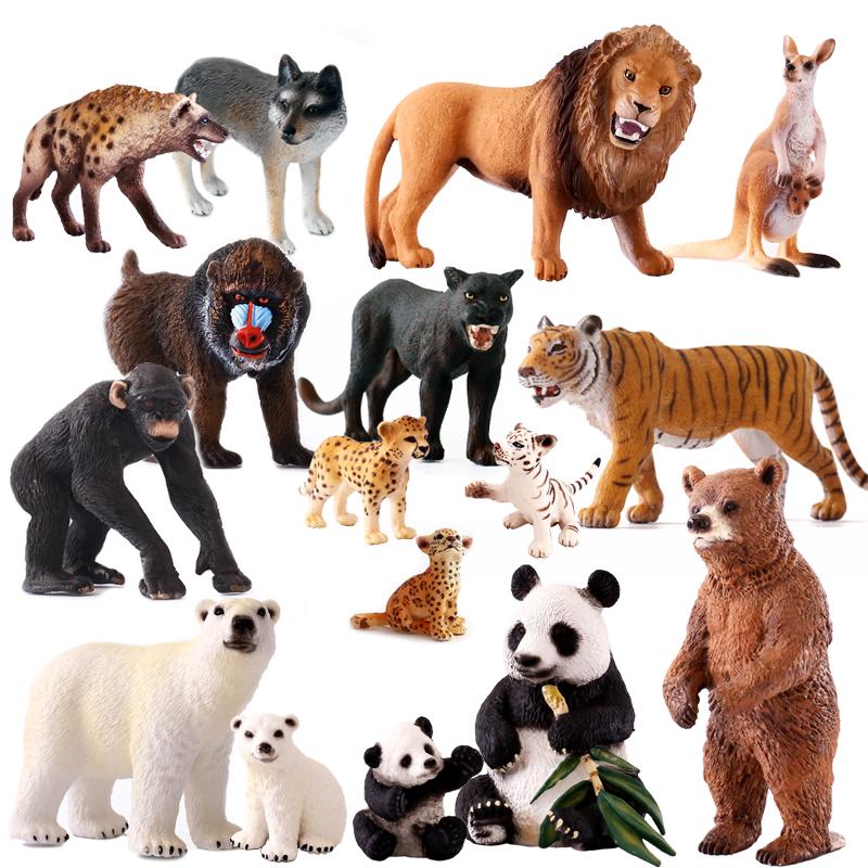 正品Schleich德國思樂仿真動物模型套裝熊貓老虎獅子豹袋鼠狼猩猩