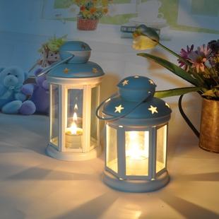 花马时光欧式田园铁艺玻璃烛台风灯 经典生日婚庆家居装饰蜡烛灯