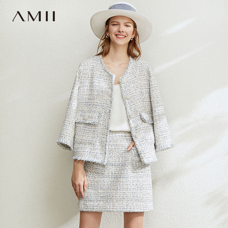 Amii minimalist small fragrance round neck jacket short skirt suit 2021 spring new tweed elegant two-piece suit