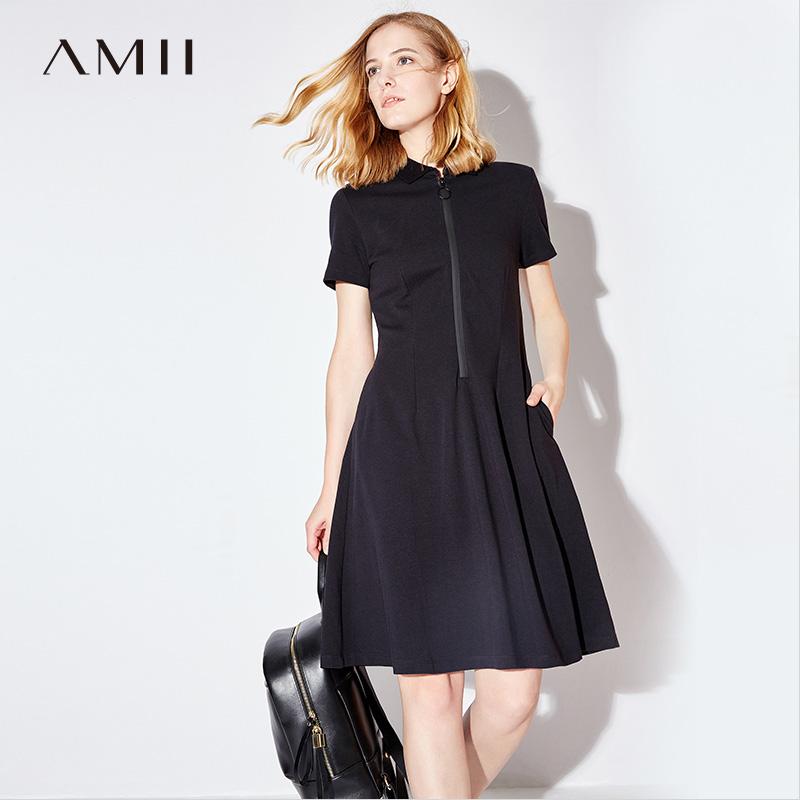 Amii港味sukol连衣裙2018春夏新款运动polo裙修身短袖A字中长裙子