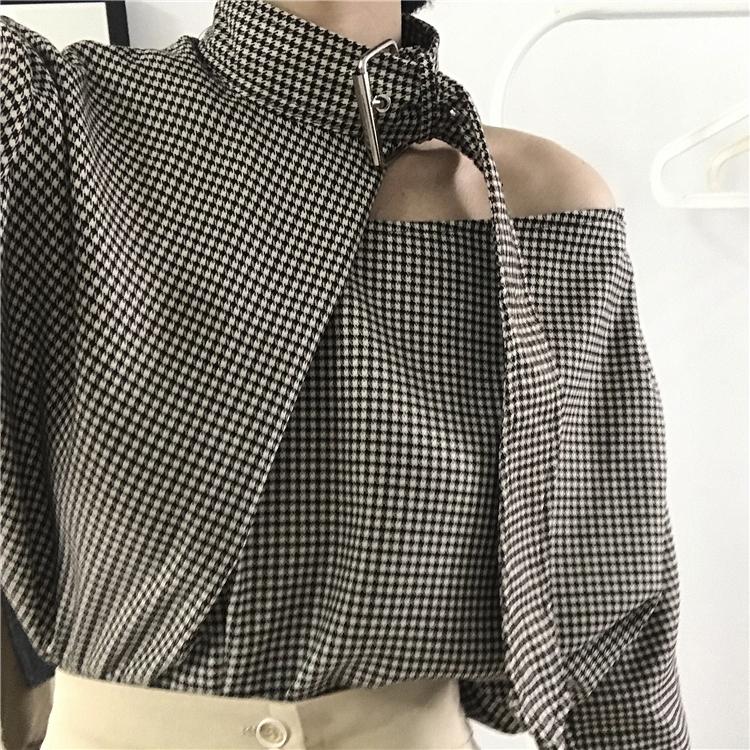 AIKO STUDIO新品オーダー長袖チェックシャツ女性春鎖骨トップス心機小衆千鳥シャツ