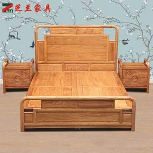 新中式双人床全实木主卧婚床禅意现代家具红木大床1.8米刺猬紫檀