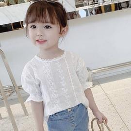 棉麻镂空2020新款女童韩版衬衫儿童洋气短袖上衣宝宝可爱上衣潮