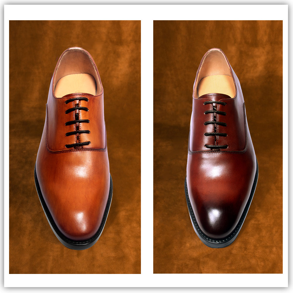 Private customized mens shoes, square head quality Goodyear hand-made leather shoes, classic hand-painted Oxford customized wedding shoes