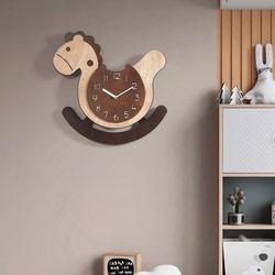 创意挂钟客厅家用时尚卧室卡通挂表时钟儿童挂墙个性可爱木马钟表