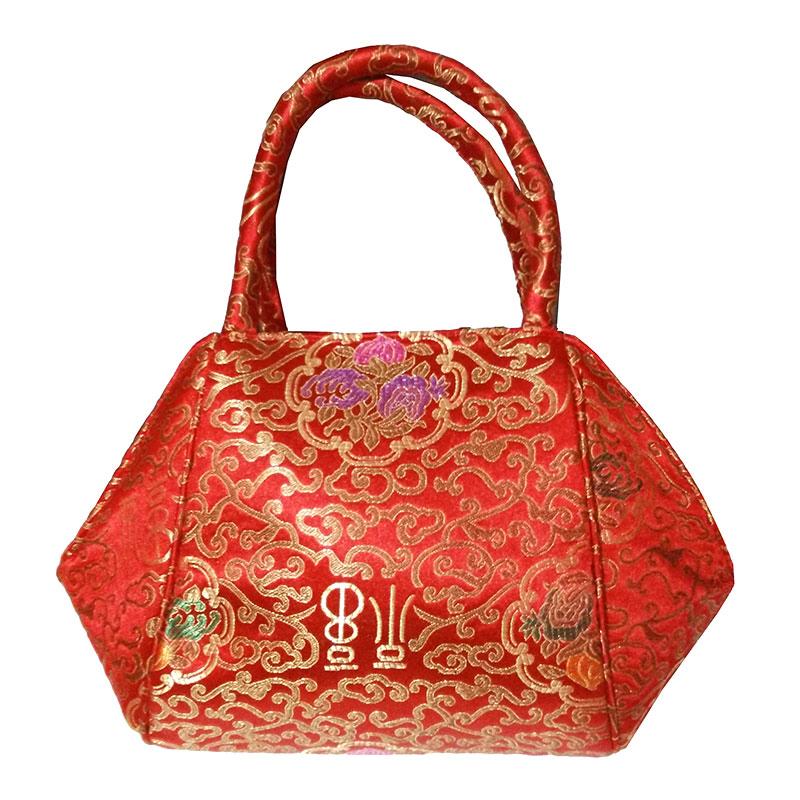 中式复古红色织锦缎女包手提包丝绸休闲贝壳包新娘手拎包电影道具