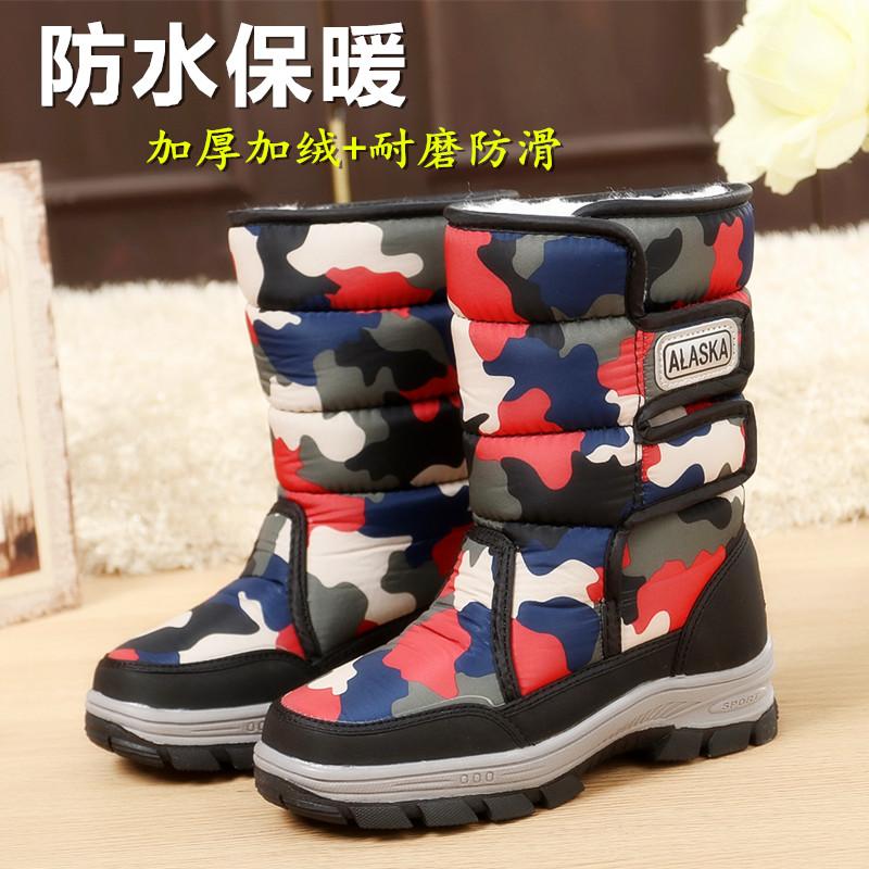 2017冬季新品儿童雪地靴男童中筒保暖靴加厚加绒女童棉靴防水防滑
