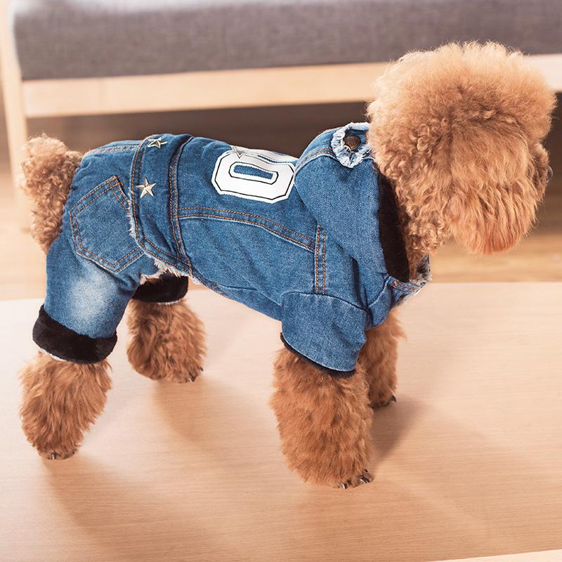 狗狗衣服秋冬装加厚四脚泰迪宠物衣服冬小型犬贵宾吉娃娃牛仔薄款