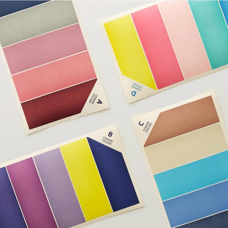 韩国funnymade彩色三角相册贴纸日记本装饰贴拍立得照片角贴116枚(非品牌)