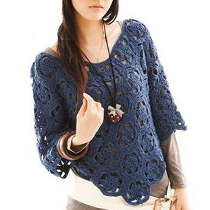 2016 spring new women s new Autumn Forest Girl crochet cape shawl hollow bat loose sweet sweater