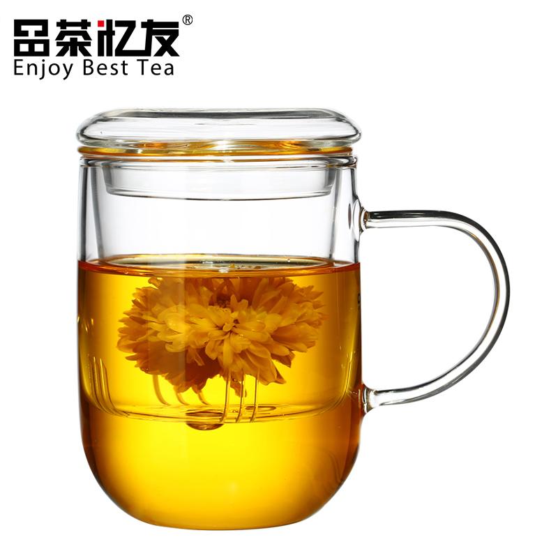 品茶憶友玻璃杯三件 辦公茶杯花茶杯子耐熱透明過濾泡茶杯