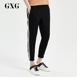 GXG男装2018夏新品织带拼接黑色裤子休闲束脚九分裤男#182802208