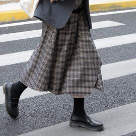 奶兔星球-自制 不规则剪裁日系复古格子半身裙松紧腰2020秋冬新款