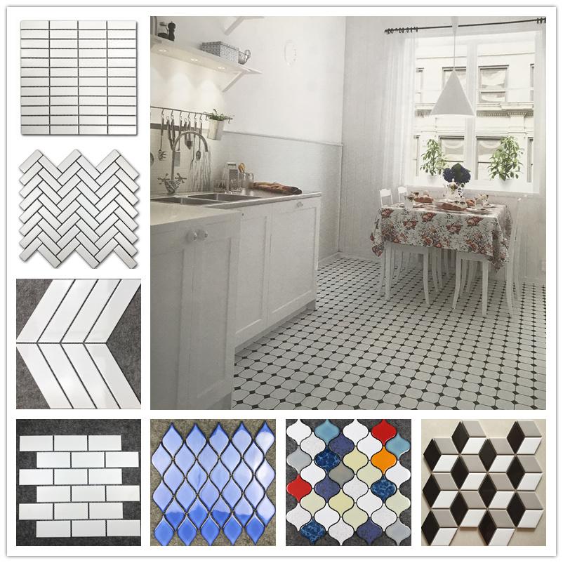 黑色白色陶瓷马赛克瓷砖菱形八角蜂巢厨房小白砖卫生间浴室墙地砖