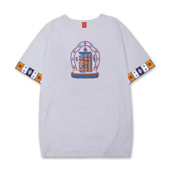 彩螺夏季藏族藏式民族風純棉襯衫