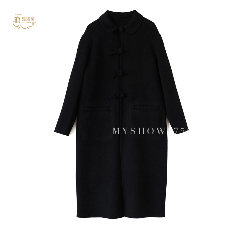 2019 fashionable and elegant Paris style large cashmere wool blended double-sided Ni coat handmade clasp