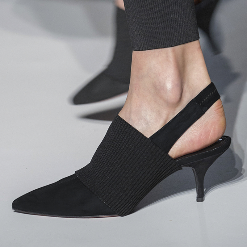 尖头后空凉靴细跟高跟鞋女弹力凉鞋小码313233真皮中跟包头猫跟鞋