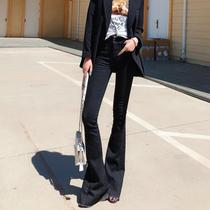 猫猫家加长微喇叭裤牛仔裤女180高个子黑色韩版显瘦高腰紧身女裤