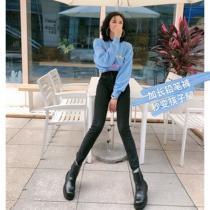 MMJ加长牛仔裤女高腰显瘦显高2020年秋季175高个子修身小脚铅笔裤