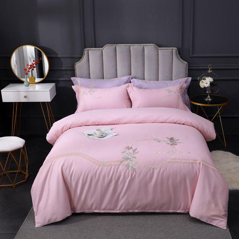 60支轻奢四件套刺绣全棉纯棉床单款被套北欧风床品套件床上用品