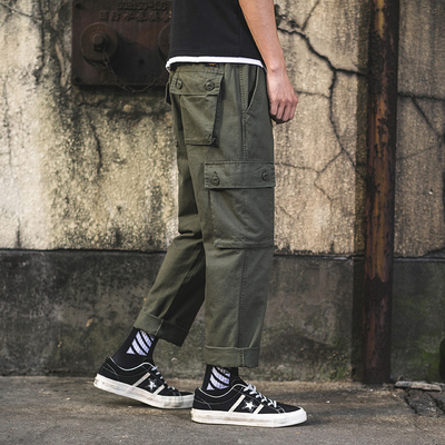 2019春外景日系大口袋工装直筒休闲裤 绿色 A500-P55(控价78)