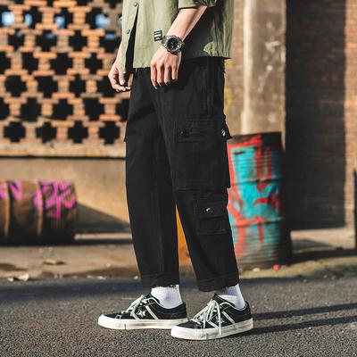 外景2019春新款日系多口袋工装裤休闲裤 黑色 A500-P55(控价78)