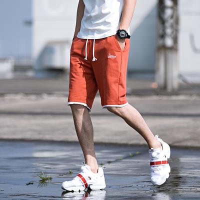 2018夏季外景日系运动短裤假两件刺绣休闲裤五分裤橘色 A501-P35