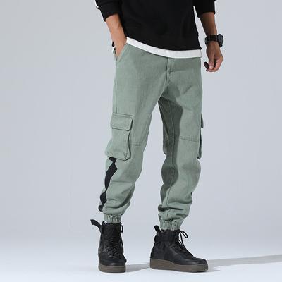 2018秋季新款内景时尚日系休闲裤多口袋潮男裤 绿色 A123-P65