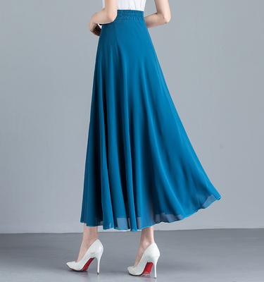 2020夏季新款纯色红色雪纺半身裙女高腰A字大摆跳舞裙大码长裙子