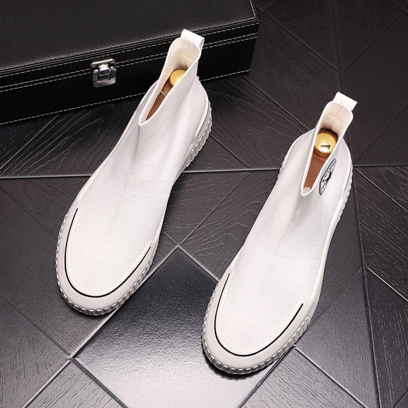 男鞋夏季新款高帮板鞋男一脚蹬懒人鞋弹力针织袜子鞋透气时尚短靴