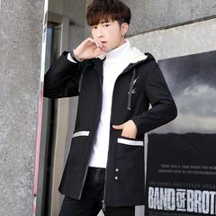 佳乐-冬季中长款加绒棉衣男士韩版修身棉服连帽夹克MY10P95