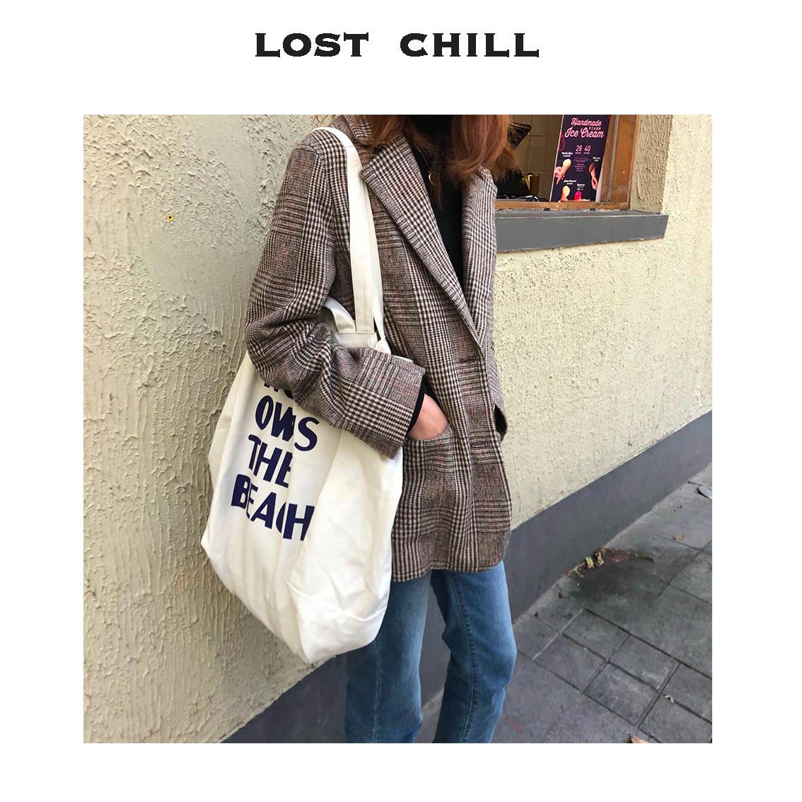 限时秒杀Lost chill-chic韩国ins大容量帆布包官网同款定制字母两用设计师