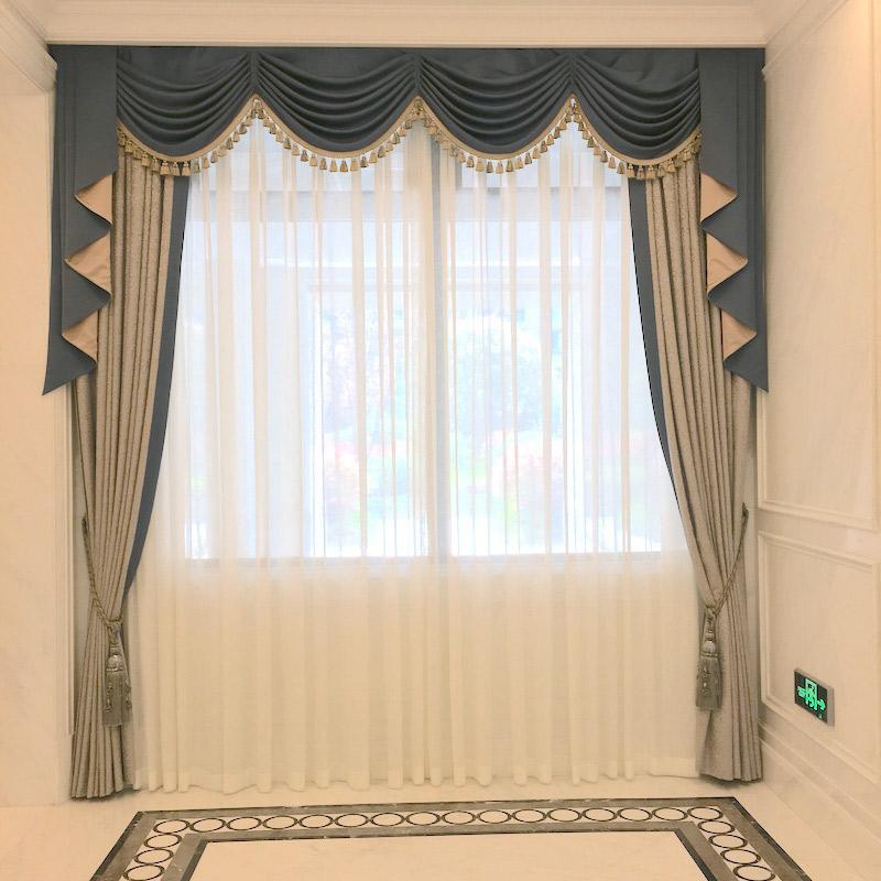 九龙仓样板房窗帘定制高精密新古典美式轻奢豪华大厅丝绸窗幔帘